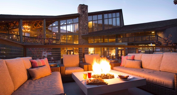 Outdoor seating with fire table