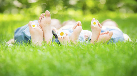 Group of 3 people lying on the ground with daisies between toes