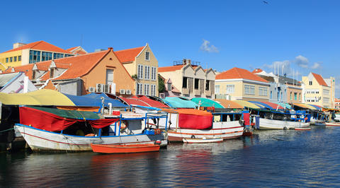 Boats parked along Willemstad marina